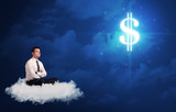 Man sitting on a cloud dreaming of money - 189884243