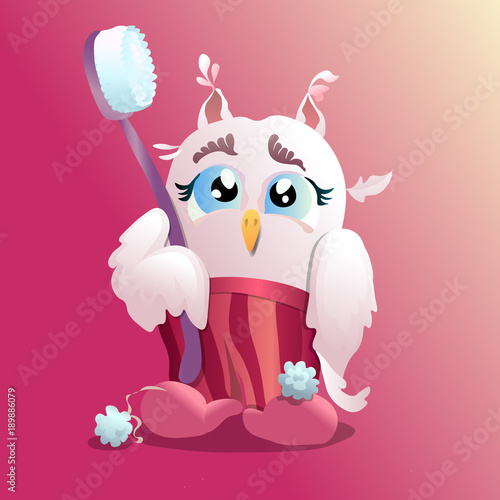Fotobehang Uilen cartoon A little owl with a toothbrush in pajamas. A nice vector image is good for postcards, illustrations and desighn of toothpaste packs