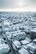 雪景色の都市風景 日本 住宅街