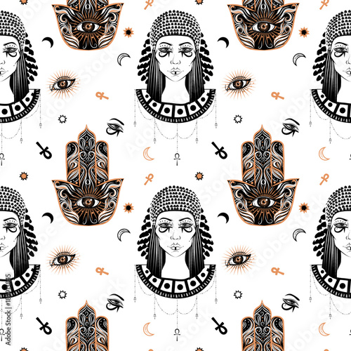 8fec8a727 Hand-drawn seamless pattern with the ancient Cleopatra's head and hamsa  talisman at boho,