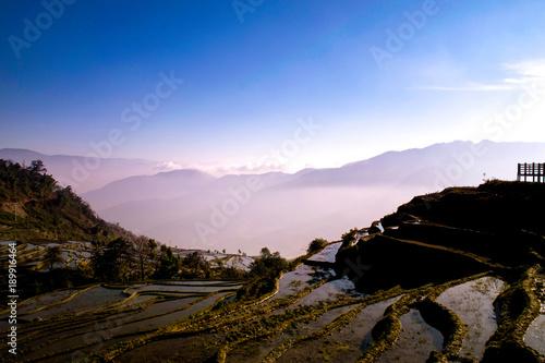 Fotobehang Lichtroze terrace