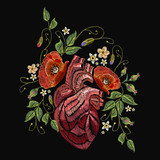 Embroidery wild roses, dogrose flowers and heart. Classic style embroidery, beautiful dogrose and anatomical heart pattern vector. Fashionable love template tapestry flowers renaissance - 189921472