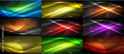 Set of neon smooth wave digital abstract backgrounds - 189922437