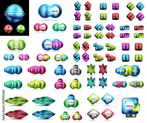 Mega collection of blank glossy glass web banner, buttons, labels © antishock
