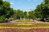 Moscow, Russia. Large flower bed on Bolotnaya Square. - 189925688