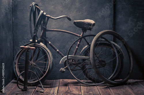 Aluminium Fiets Small bike fix service with tools, wheels and tube