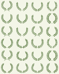 Green silhouettes of laurel wreaths, vector illustration