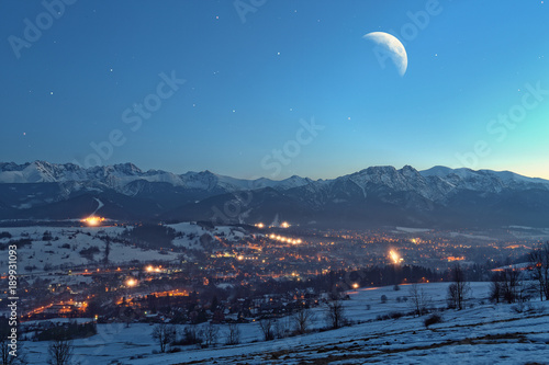Night view of the mountain town