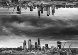 Black and white sci-fi futuristic fantasy image of upside down city landscape - 189932825