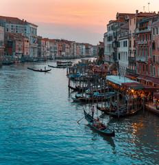 Rialto Bridge, Venice, Veneto, Italy. Sunset