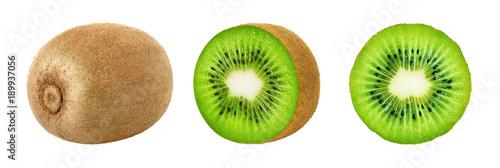 Set of whole and slice kiwi fruits isolated