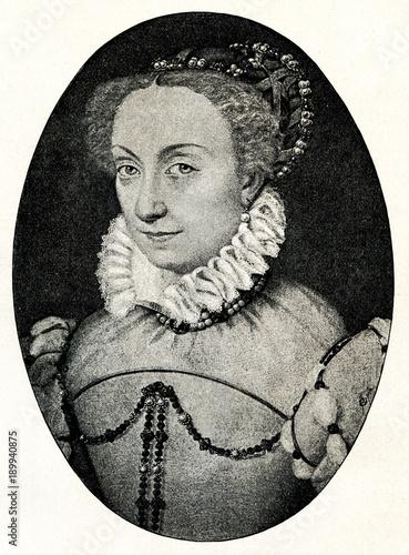 Jeanne d'Albret, queen regnant of Navarre, portrait by François Clouet (from Spamers Illustrierte Weltgeschichte, 1894, 5[1], 513)