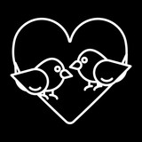 Love birds with heart icon vector, flat sign, outline pictogram isolated on black. Valentine's Day lover bird symbol, logo illustration.