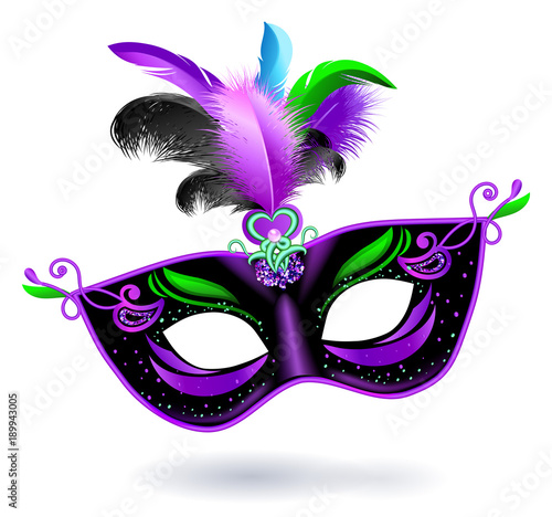 Black carnival mask with violet pink green blue feathers on white background