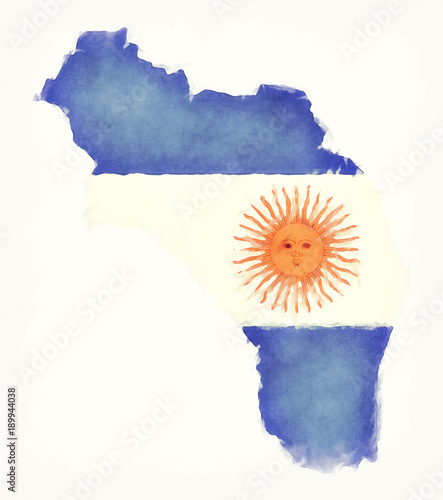 La Rioja watercolor map with Argentinian national flag in front of a white background