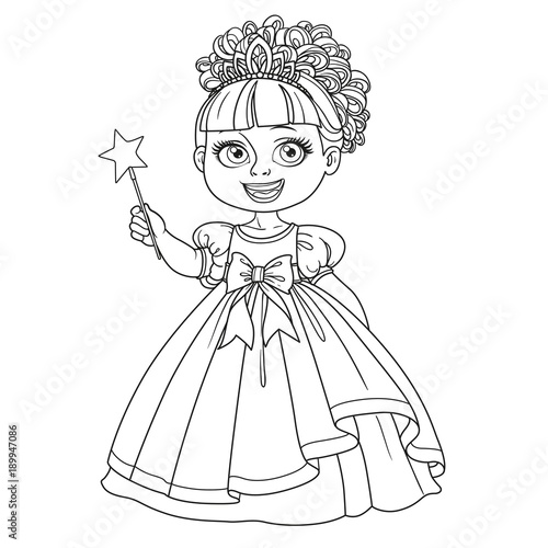 Cute little princess in ball dress and tiara holding magic wand outlined isolated on white background