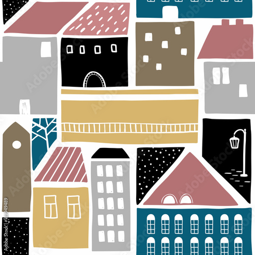 Seamless pattern with old town buildings. - 189949489