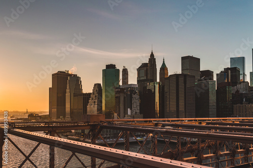 Fotobehang Brooklyn Bridge New York from Brooklyn Bridge at Sunset
