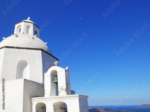 Fotobehang Santorini White dome church in Santorini island, Greece