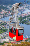 Ulriken cable railway in Bergen, Norway. Gorgeous views from the top of the hill. - 189964084