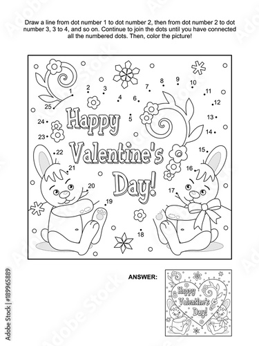Valentines Day Themed Connect The Dots Picture Puzzle And Coloring Page With Hidden Heart Greeting