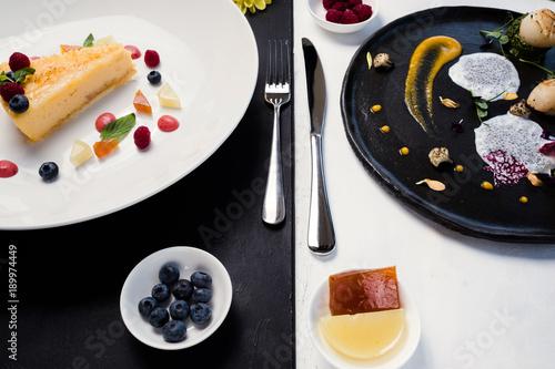 contrast restaurant meals gourmet concept. delicious luxury food. kitchen art