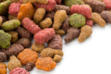 Close up of a heap of dry pet food