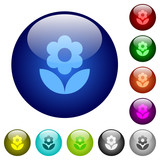 Flower color glass buttons
