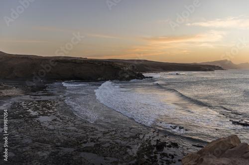 Fotobehang Strand La Pared beach at sunset in Fuerteventura, Canary Islands