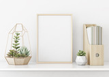 Home interior poster mock up with horizontal gold metal frame and succulents on white wall background. 3D rendering. - 189988008