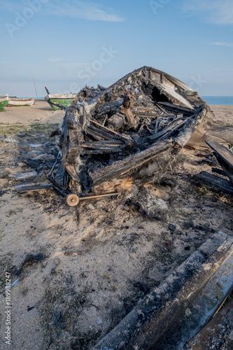 Keuken foto achterwand Schip Burning boat