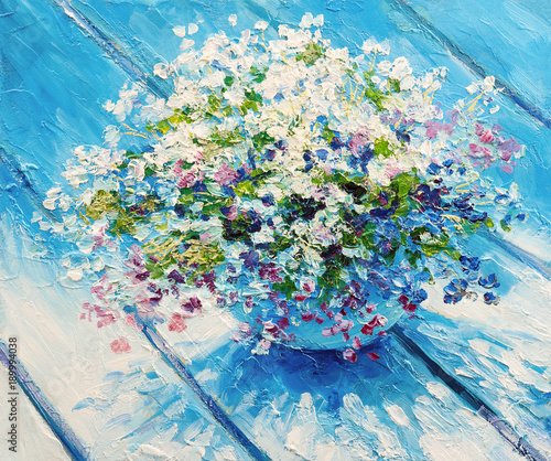 Oil painting on canvas, still life flowers, impressionism artwork © Fresh Stock