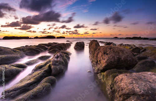 Keuken foto achterwand Aubergine long expose seascape with leading lines rocks formation