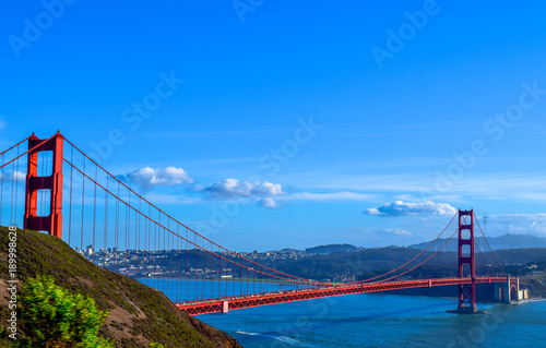 Zdjęcie XXL Widok Golden Gate Bridge w San Fransisco, Marin Headlands, San Fransisco w tle, usa, Kalifornia
