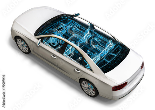 Car Interior Development Process 3d Render Image Of An Car In Wire
