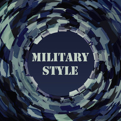 Abstract dark template in military style with circle. Vector graphic pattern