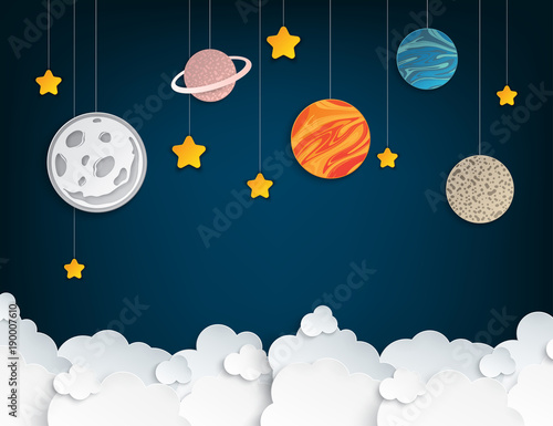 Fototapeta Paper art origami abstract concept with stars, fluffy clouds, full moon, different planets of solar system. Vector illustration
