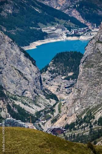 Papiers peints Bleu nuit Vue lac de Tignes