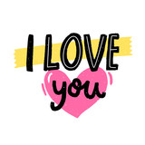 I love you. Love confession, romantic saying for wedding and Valentine's day cards. Handwritten inscription
