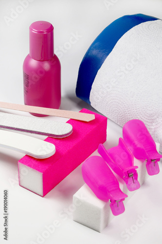 Staande foto Manicure A set for removing acrylic, glitters, hybrids, gel and nail polish