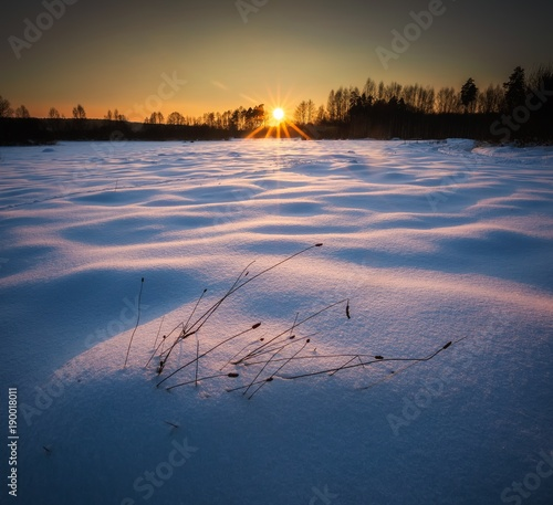 Keuken foto achterwand Nachtblauw Winter landscape at beautiful sunny evening