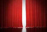 Bright light shining behind red curtains in theatre. 3D rendered illustration. - 190020650