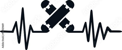 Fotobehang Skateboard Skateboard heartbeat line