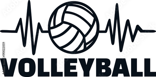 Volleyball player heartbeat line