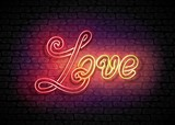 Vintage Glow Signboard with Love Inscription