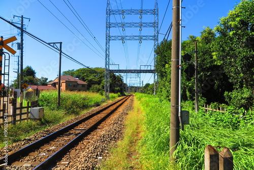 Foto op Plexiglas Tokio 青空と線路の風景1