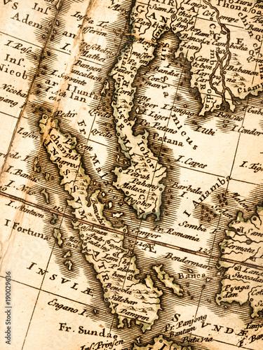 Fotobehang Kuala Lumpur 古い世界地図 マレー半島