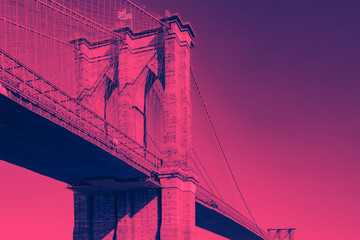 Brooklyn Bridge in Pink and Blue New York City
