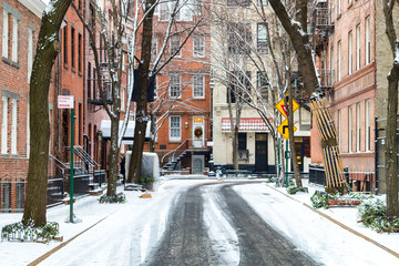 Snow covered Commerce Street after a winter storm in Greenwich Village Manhattan New York City