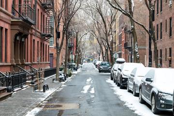 Snow covered Barrow Street in Greenwich Village, Manhattan New York City